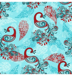 seamless winter pattern with stylized peacocks and vector image