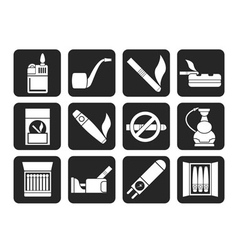Silhouette Smoking and cigarette icons vector image vector image