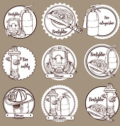 Sketch fire safety icons vector image