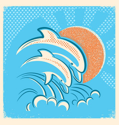 two dolphins and sun retro of parent vector image