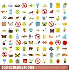 100 ecology icons set flat style vector image
