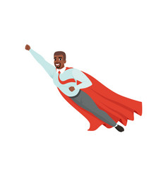 afro-american man with superhero cloak flying with vector image vector image