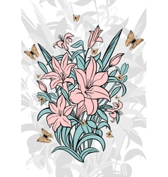 Bouquet of lilies with butterflies vector image