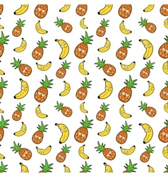 Fruits Seamless Background with Funny Bananas vector image vector image