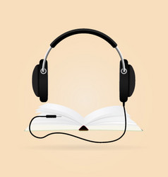 headphones with books audio-book concept modern vector image vector image