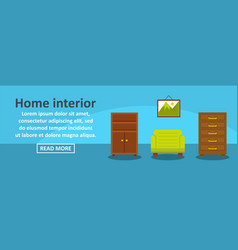 home interior banner horizontal concept vector image