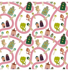 Road seamless pattern with houses and animals vector image
