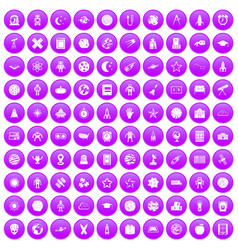 100 astronomy icons set purple vector