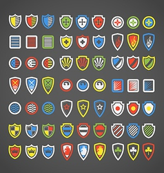 Abstract color arms on shields vector