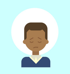 African american male sad emotion profile icon vector