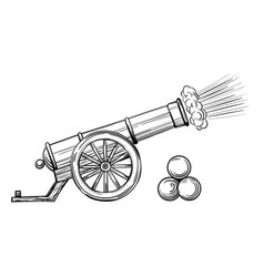 an ancient cannon with gun cores vector image
