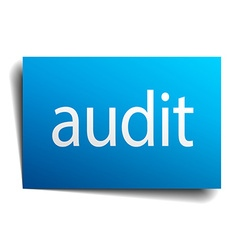 Audit blue square isolated paper sign on white vector