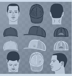 baseball tennis rap cap and man head vector image