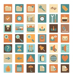 basic flat web icon set vector image