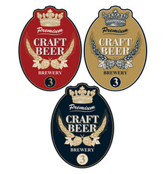 beer labels with wheat ears hops and crown vector image
