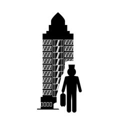 Bellboy hotel building silhouette design vector