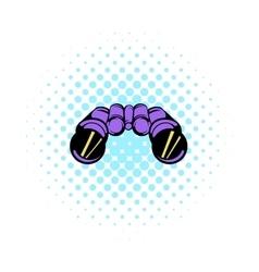 Binoculars icon comics style vector image