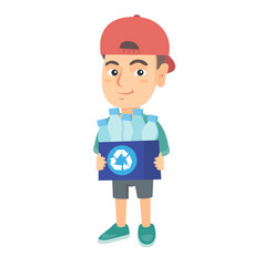 boy holding recycling bin full of plastic bottles vector image