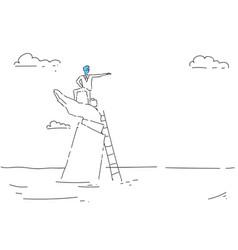 Business man climb ladder career opportunity vector