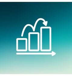 Business sales increase thin line icon vector image