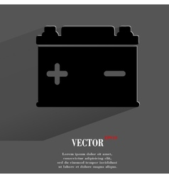 Car battery Flat modern web button with long vector image