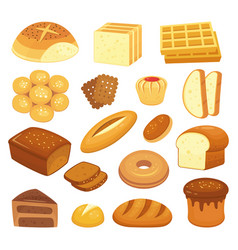 Cartoon bakery products toast bread french roll vector