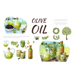 Cartoon green and black olive composition vector
