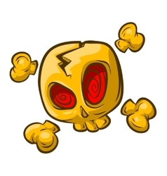 Cartoon yellow skull with red eyes vector image