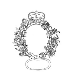 Celtic belt with rose and thistle drawing vector