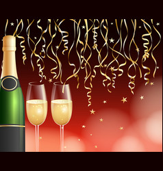 Champagne and confetti background vector