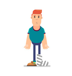 character with foot bandage vector image