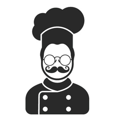 Chef cook icon - man with moustaches beard vector image