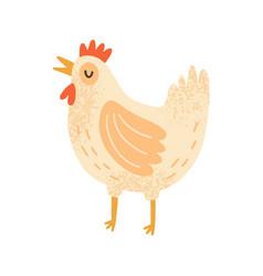 childish cute cock in simple scandinavian vector image