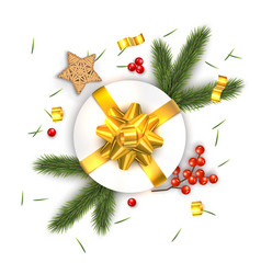 christmas composition on white background vector image