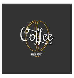 Coffee bean logo with vintage coffee lettering on vector