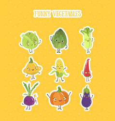Collection fruits and vegetables stickers set vector