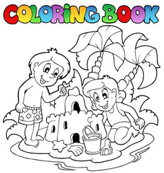 coloring book with summer theme 1 vector image