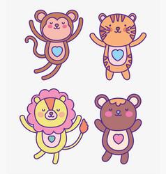 Cute animals cartoon flat design vector