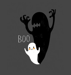 cute little ghost and big scary shadow card vector image
