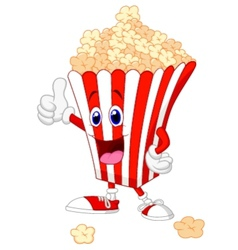 Cute popcorn cartoon with thumb up vector image