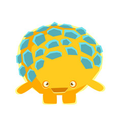 Cute yellow mossy stone with embarrassed face vector