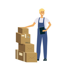 delivery man with stack boxes male cartoon vector image
