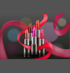Design concept with lipsticks on dark vector