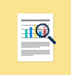 Document magnifying glass flat design vector image