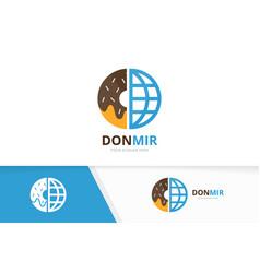 Donut and planet logo combination doughnut vector