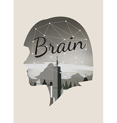 Double exposure for brain concept vector image