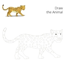Draw the animal educational game leopard vector