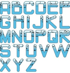 eps10 alphabet music glossy blue vector image