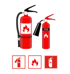 Fire extinguishers in realistic style and flat vector
