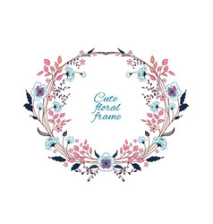 Floral frame cute retro flowers arranged un a vector